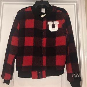 New VS Pink Utah Utes Buffalo Check Coat